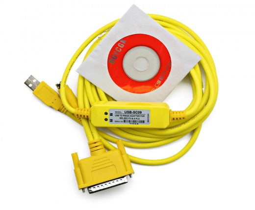 Programming Cable USB to RS422 Adapter for Melsec FX & PLC Mitsubishi USB-SC09 Yellow