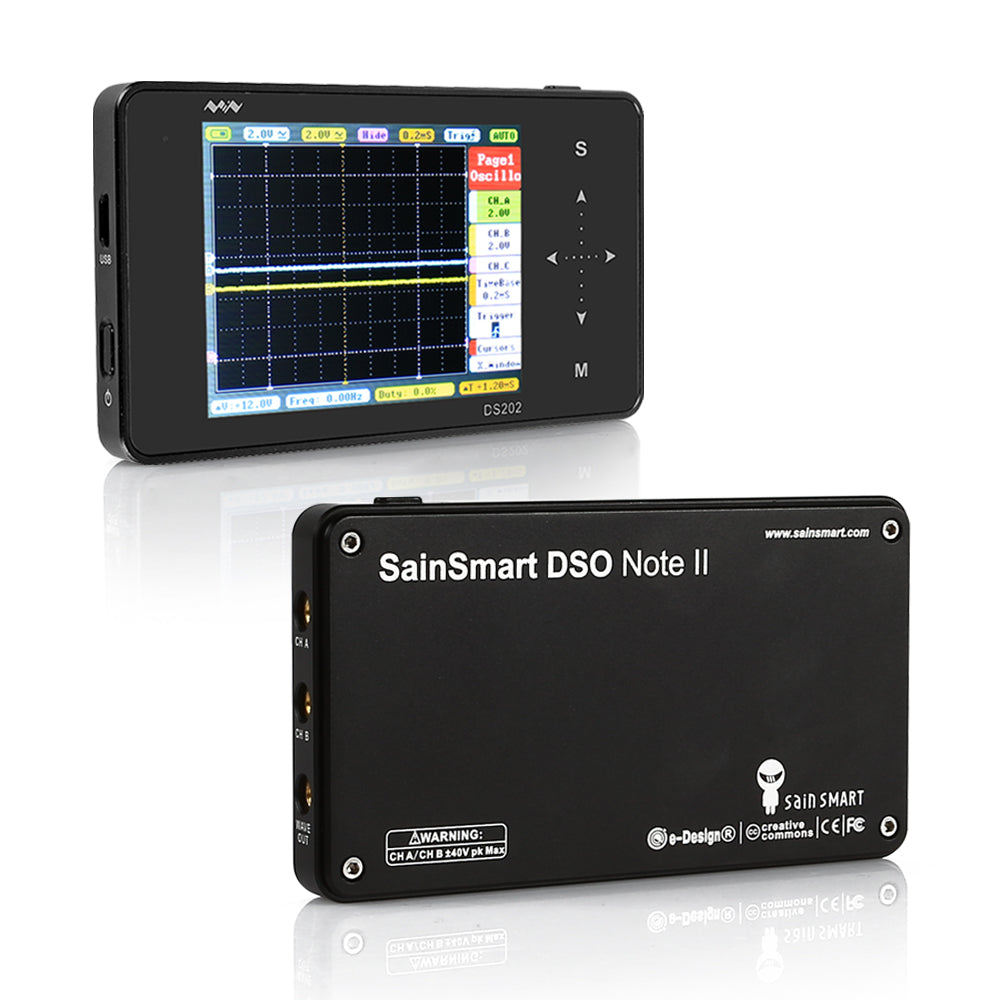 DSO202 2-CH Handheld Mini Digital Oscilloscope, Touchscreen