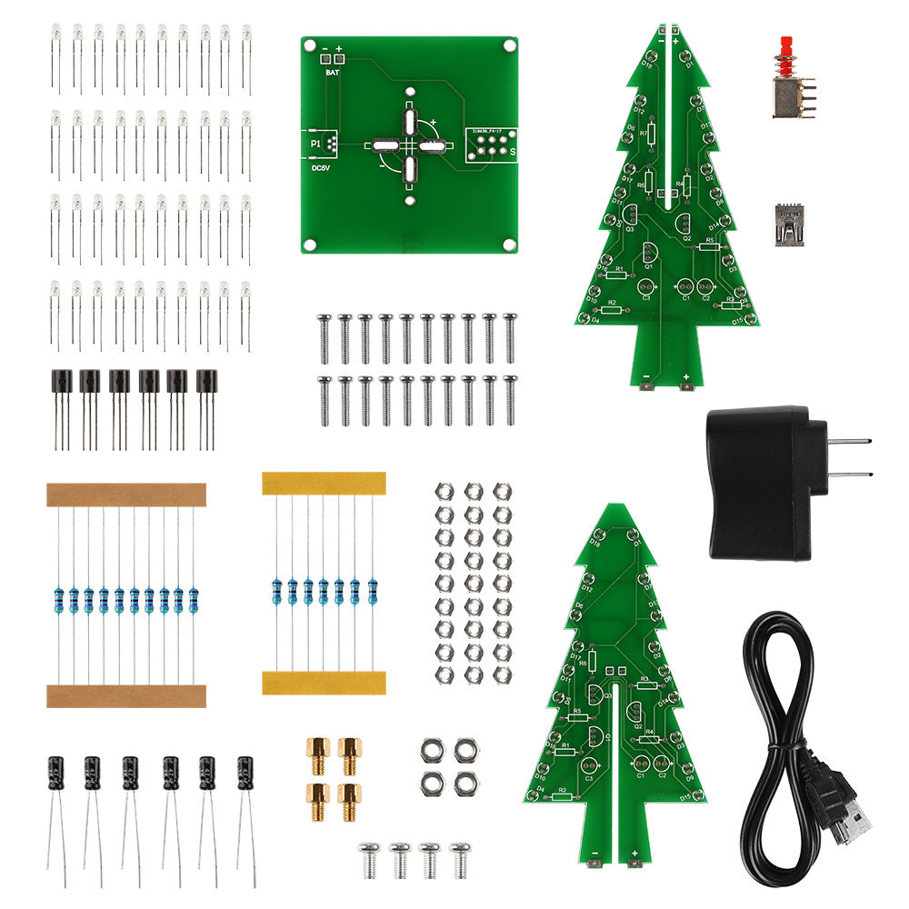 7-Color 3D Christmas Trees LED DIY Kit