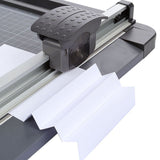 Jielisi A4 Wood Rotary Guillotine Ruler Paper Cutter Trimmer White-Black