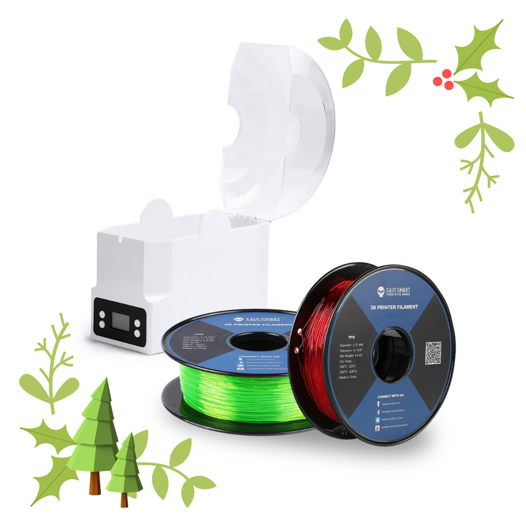 [Discontinued] Xmas Bundle, Red & Green Flexible TPU Filament & Storage Box Kit