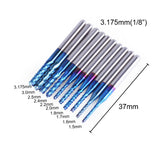 "Genmitsu 1/8"" Router Bit 10-PCS Variety Set C08/C15 , Nano Blue Coating"