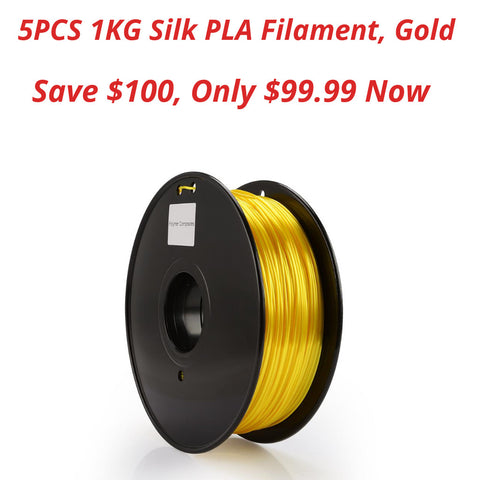 5PCS Filament Silk PLA , 1.75mm - 1kg, Gold & Green