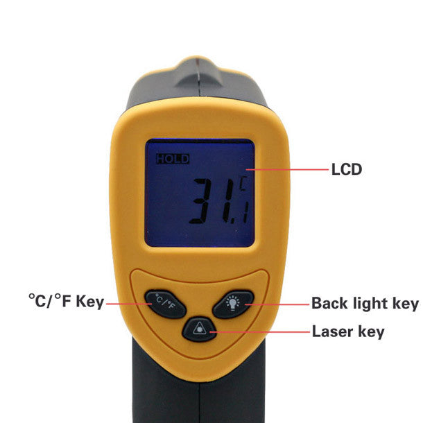 Non-Contact Laser Point IR Infrared LCD Digital Thermometer 9v Battery Inclued