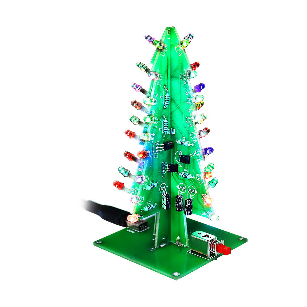 SainSmart Christmas Tree LED Flash Kit 3D DIY Electronic Learning Kit  Colorful Lights Without Case 7colors ...