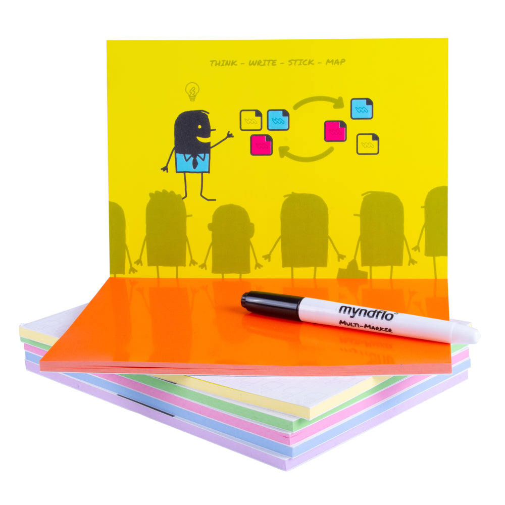 Static Notes X-LARGE 200x140mm Assorted Colours Pack 6