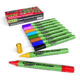Whiteboard Drywipe Marker Medium Tip Slim Barrel, Assorted Colours - Box 10