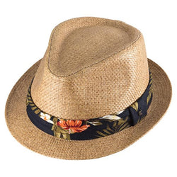Pandanus Men & Women's Straw Fedora w/ tropical hatband | Chapel Hats