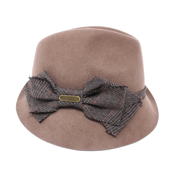 Hatch Bow Plaid BRN Felt Fedora Hat for Men/Women | Chapel Hats