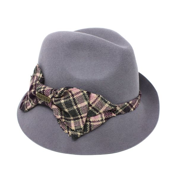 Hatch Bow Plaid Gray Felt Fedora Hat for Men/Women | Chapel Hats