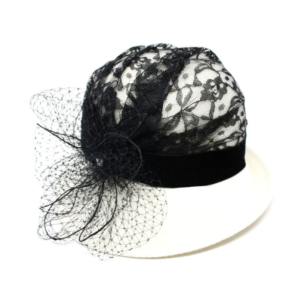Kathy Jeanne Blanche Women's Black Lace White Cloche Hat | Chapel Hats