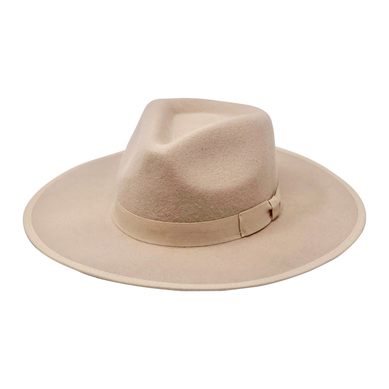 Devin Stiff Wide Brim Adjustable Felt Fedora Beige