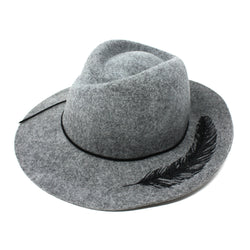 Adora Women's Feather EMB Felt Safari Fedora Hat  | Chapel Hats