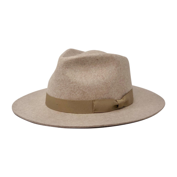 Kendall Adjustable Flat Brim Fedora for Men/Women Oatmeal Tan color| Chapel Hats