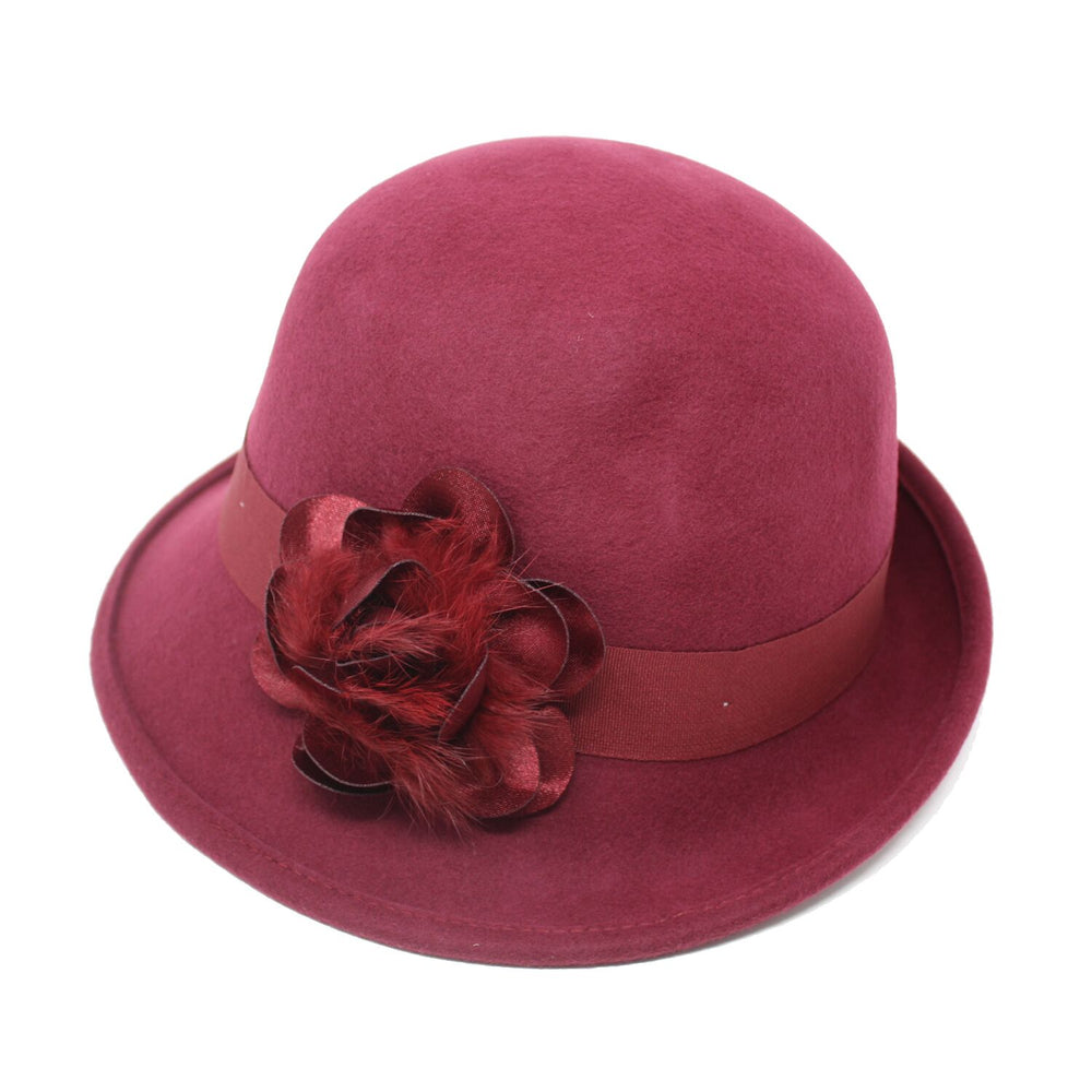 Giovanna Rosalinda Women's Burgundy Felt Cloche Hat | Chapel Hats