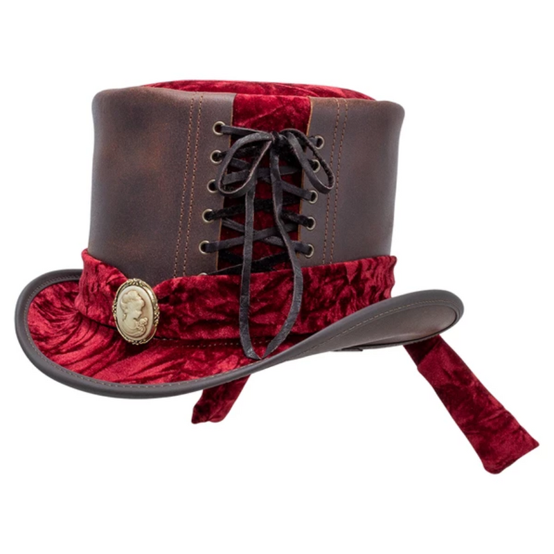 Head'n Home Havisham Lace Leather Steampunk Top Hat | Chapel Hats