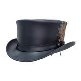 Head'n Home Black Leather Marlow Top Hat LT Band Steampunk