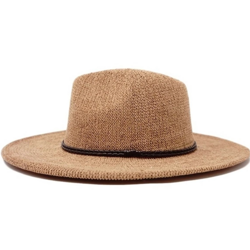 Tress Adjustable and Packable Wide Brim Fedora Pecan