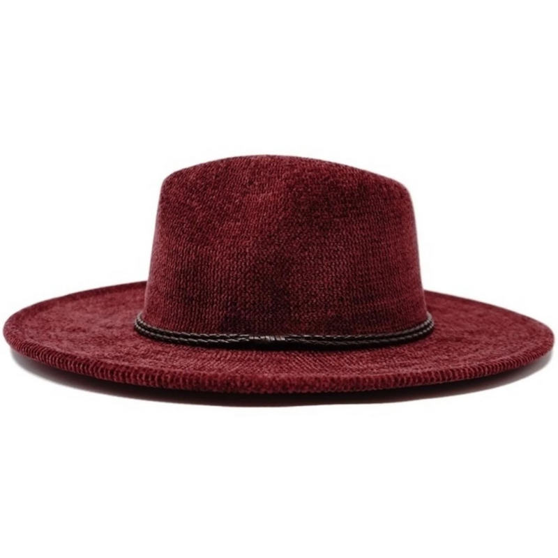 Tress Adjustable and Packable Wide Brim Fedora Burgundy