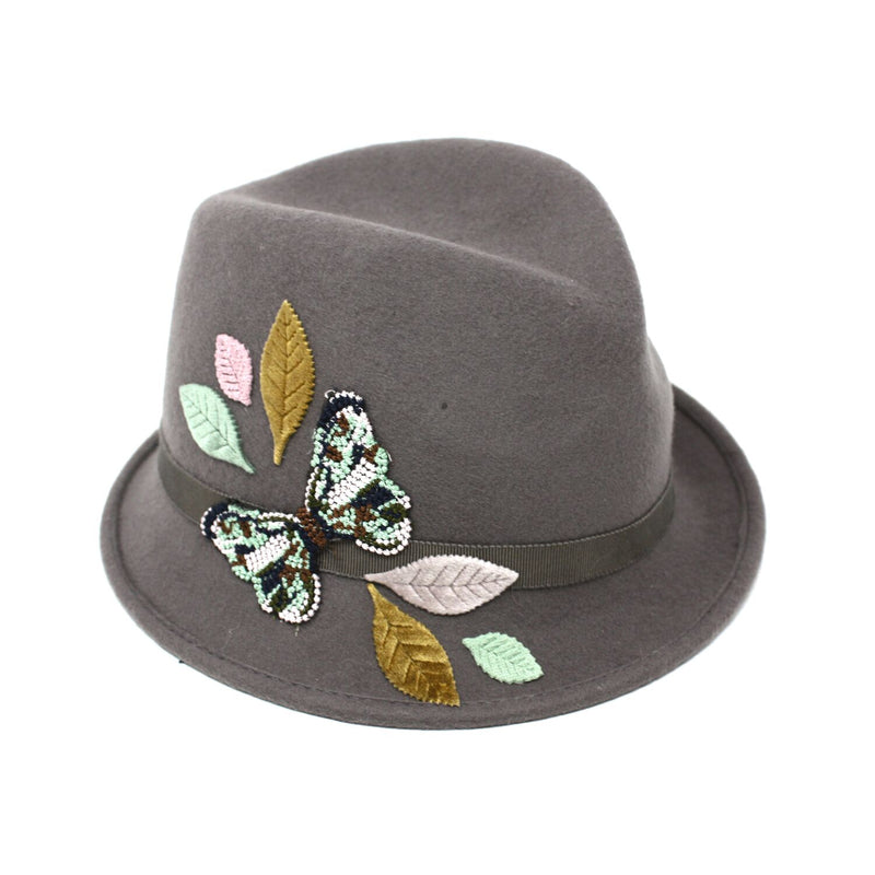 Giovanna Stingy Stitch Butterfly Embroidered Fedora | Chapel Hats