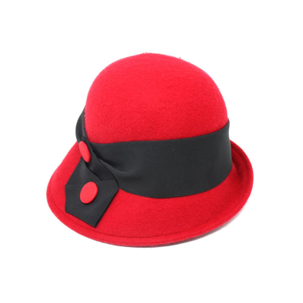 Kathy Jeanne Velma Red Wool Felt Cloche Hat | Chapel Hats