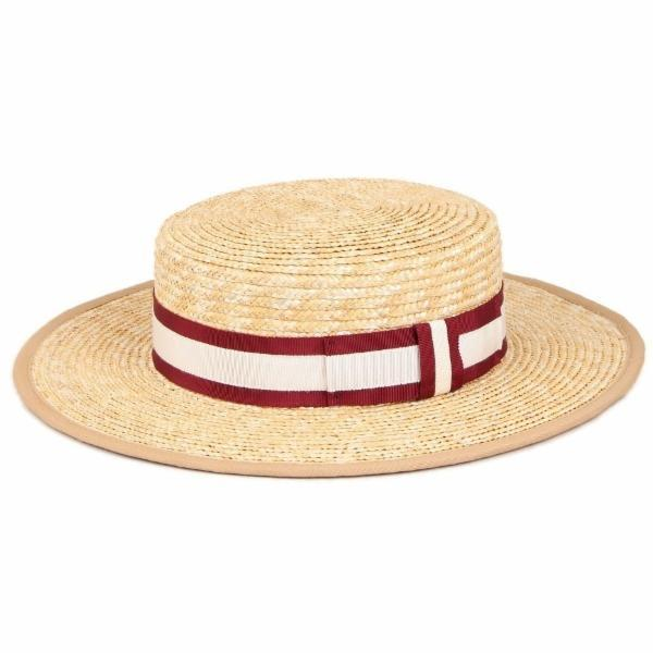 Olive and Pique Straw Boater W/ Stripe Band | Chapel Hats