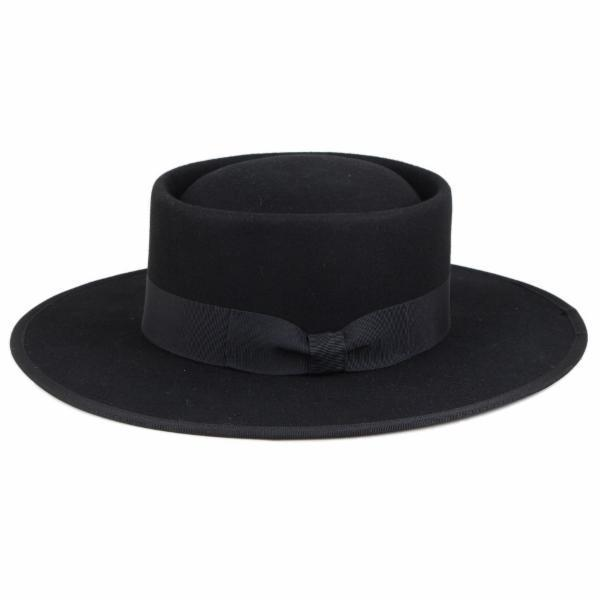 Gabbie Felt Stiff Brim Adjustable Bolero Hat Black