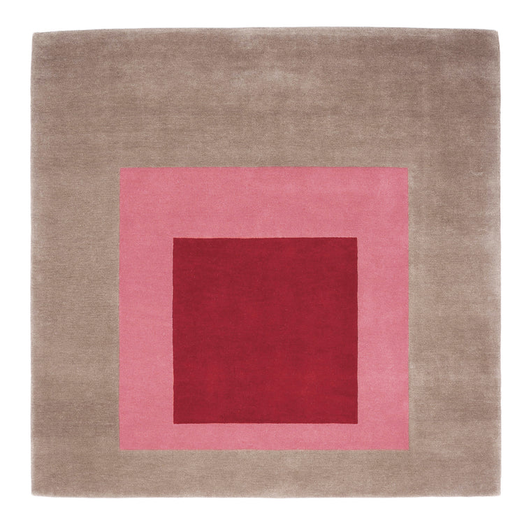 Homage to the Square: Tan, Pink, Burgundy (rug) by Josef Albers