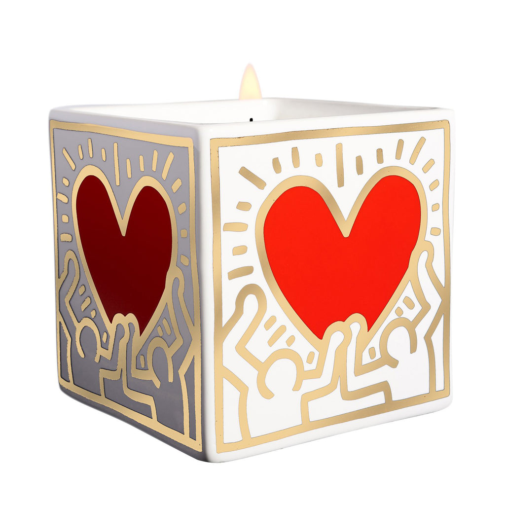 Red Heart with Gold Candle by Keith Haring