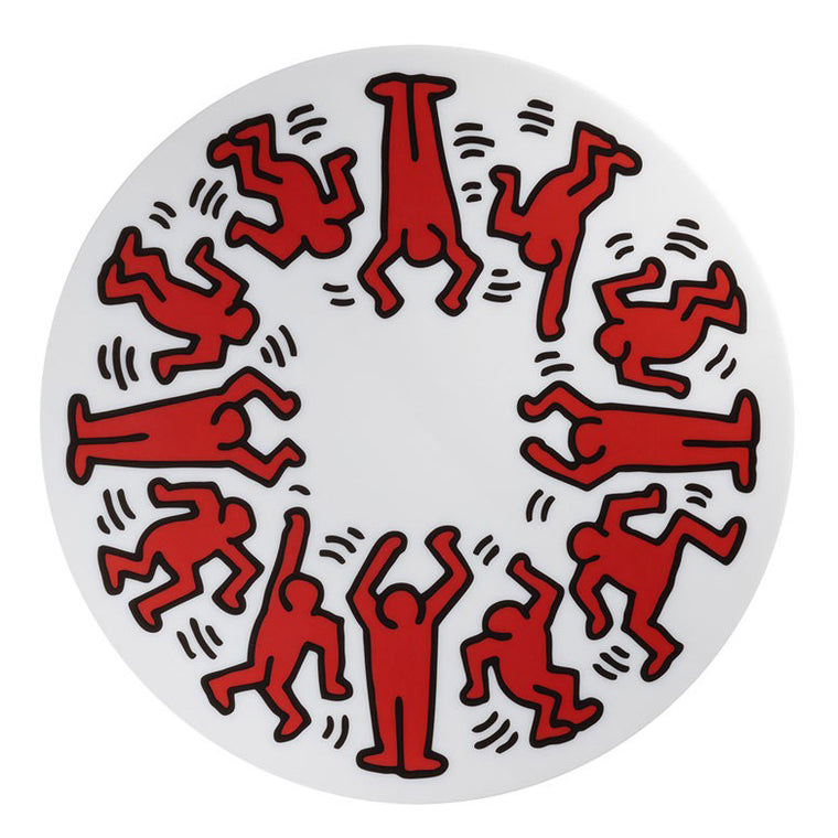 Red on White Plate by Keith Haring