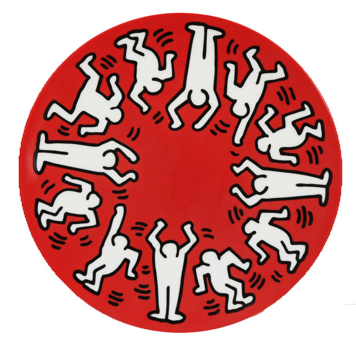 White on Red Plate by Keith Haring