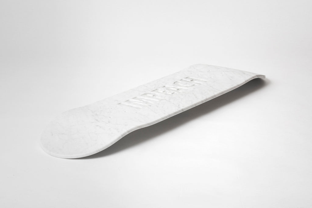 Impeach (Marble) Skateboard Deck by Jenny Holzer