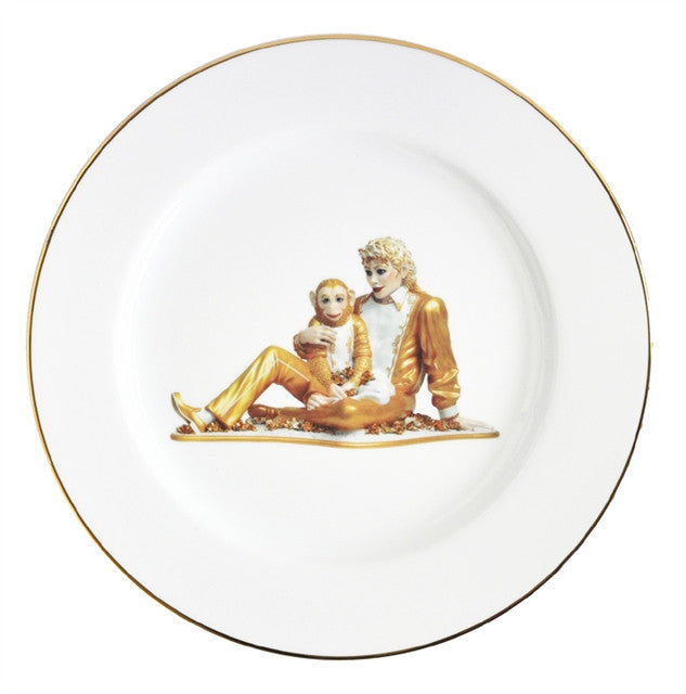 Banality Service Plate (Michael Jackson & Bubbles) by Jeff Koons