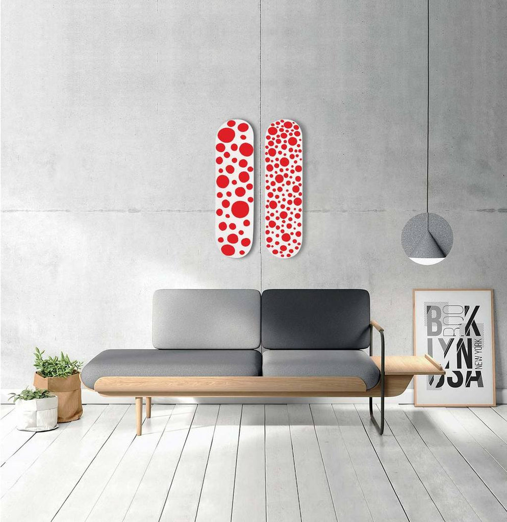 Red Small Dots Skateboard Deck by Yayoi Kusama