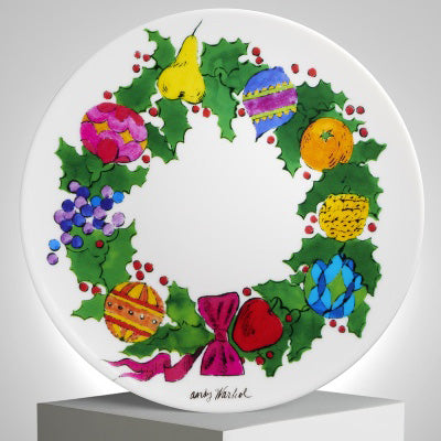 Christmas Wreath Plate by Andy Warhol