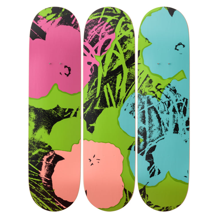 Flowers (Green/Pink) Skateboard Decks after Andy Warhol