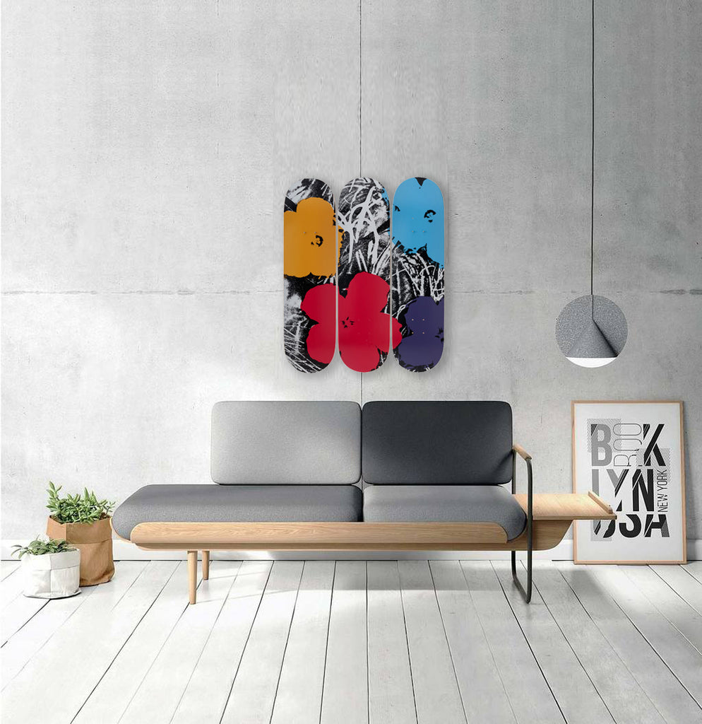 Flowers (Grey/Red) Skateboard Decks after Andy Warhol