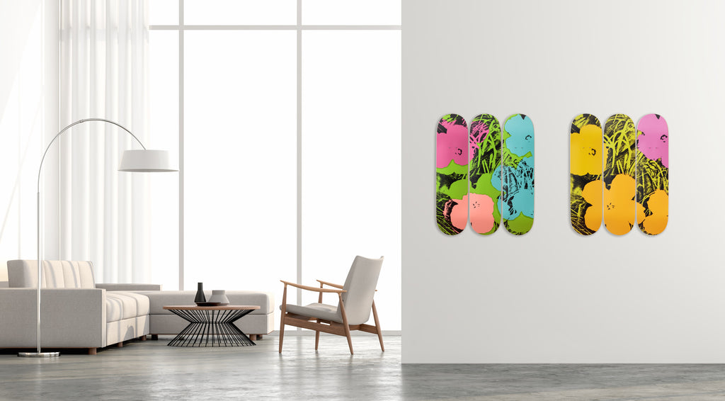 Flowers (Lime/Orange) Skateboard Decks after Andy Warhol