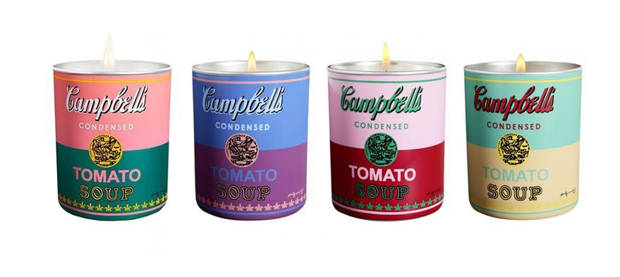 Campbell's Soup Can (turquoise/yellow) Candle by Andy Warhol