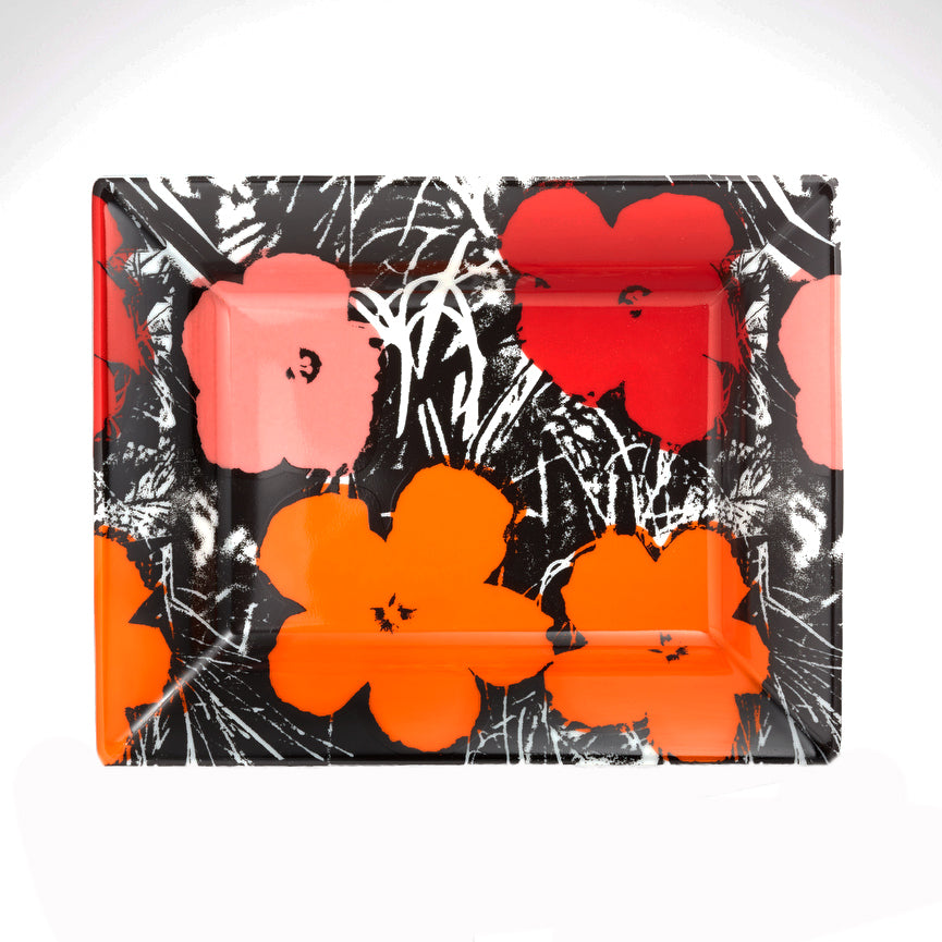 Red/pink Flowers Tray by Andy Warhol