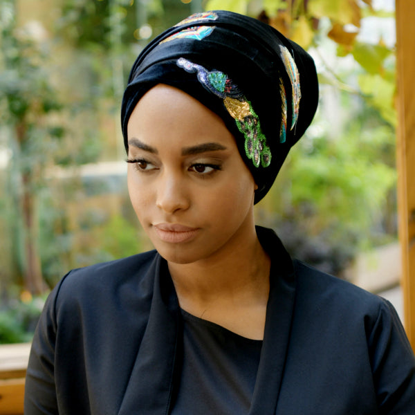 Modest Fashion Mall turbans head coverings head wraps mood style blog article long head wrap black Peacock
