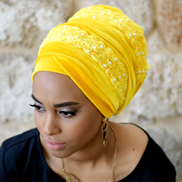 Modest Fashion Mall turbans head coverings head wraps mood style blog article long head wrap yellow Lily head wrap