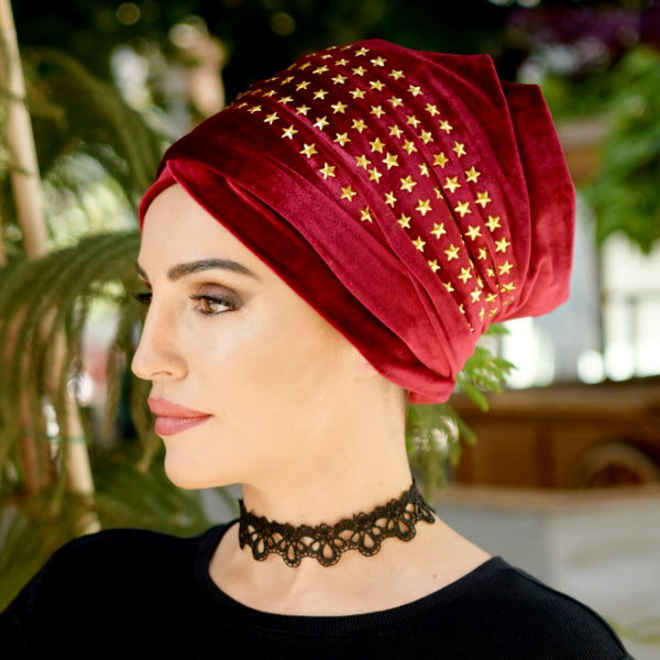 Modest Fashion Mall turbans head coverings head wraps mood style blog article star velvet red