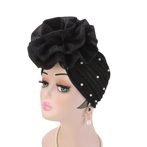 Adele Glitter Turban  Women Muslim beaded headwear glitter Cap Big Flower Headwrap Wedding Party Hair Lose Cancer head covering Hair Accessories Black-2