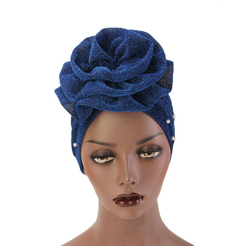 Adele Glitter Turban  Women Muslim beaded headwear glitter Cap Big Flower Headwrap Wedding Party Hair Lose Cancer head covering Hair Accessories Blue