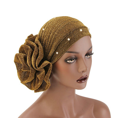 Adele Glitter Turban  Women Muslim beaded headwear glitter Cap Big Flower Headwrap Wedding Party Hair Lose Cancer head covering Hair Accessories Gold