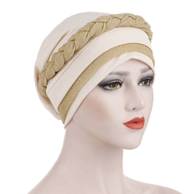 Adrian Braided Flasher Headwrap Headscarf Hijab Turban Cancer Hat Elastic Hair Accessories Hair Loss Headcovering Shop Online Fancy Headcovers-Beige