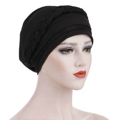 Adrian Braided Flasher Headwrap Headscarf Hijab Turban Cancer Hat Elastic Hair Accessories Hair Loss Headcovering Shop Online Fancy Headcovers-Black