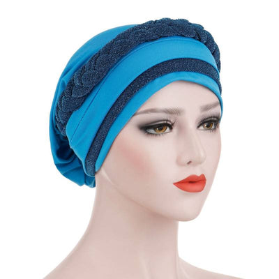 Adrian Braided Flasher Headwrap Headscarf Hijab Turban Cancer Hat Elastic Hair Accessories Hair Loss Headcovering Shop Online Fancy Headcovers-Blue