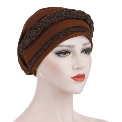 Adrian Braided Flasher Headwrap Headscarf Hijab Turban Cancer Hat Elastic Hair Accessories Hair Loss Headcovering Shop Online Fancy Headcovers-Brown